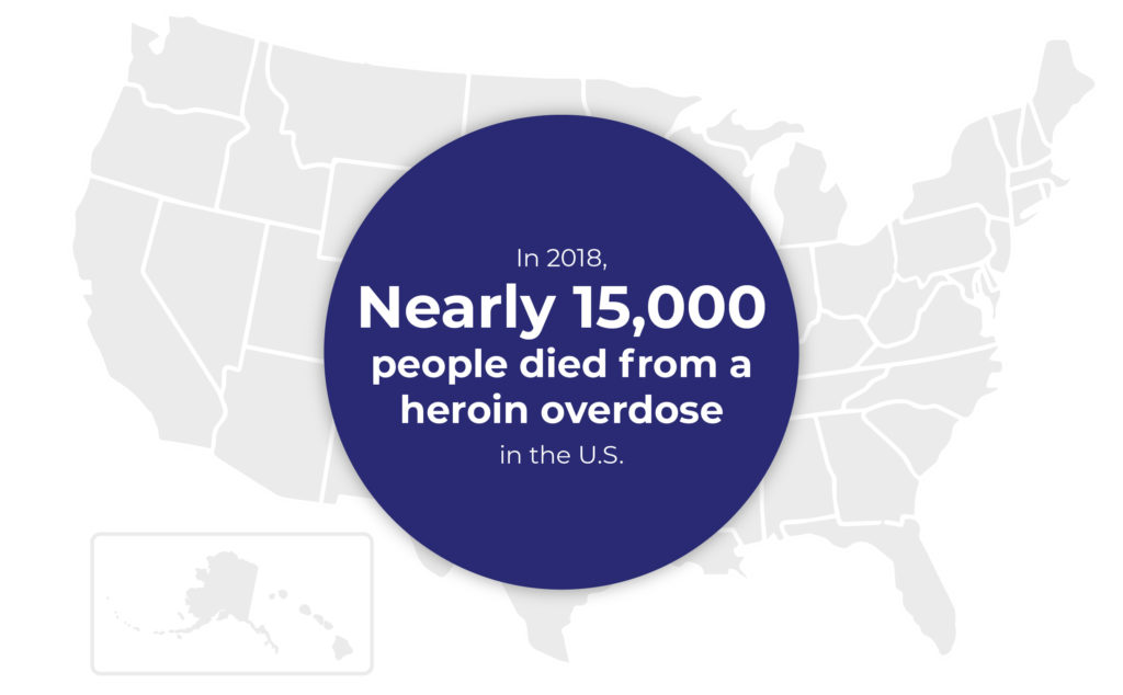 A map of the United States with a heroin statistic overlay.