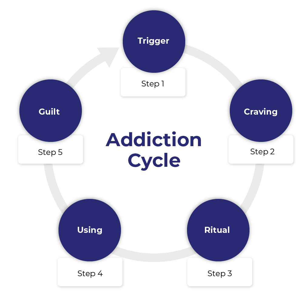 Chart representing the cycle of addiction